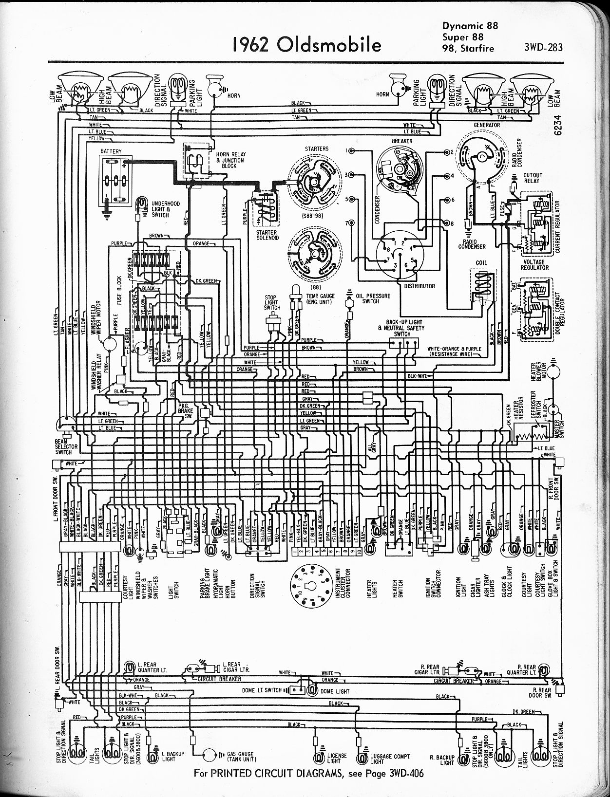 oldsmobile wiring diagrams the old car manual project 1962 dynamic 88 super 88 98 starfire