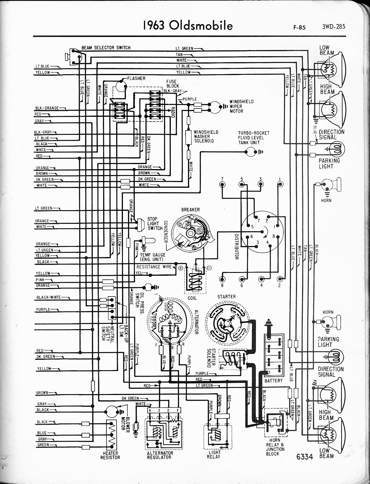 oldsmobile wiring diagrams the old car manual project saturn engine schematic 1963 f 85 right page