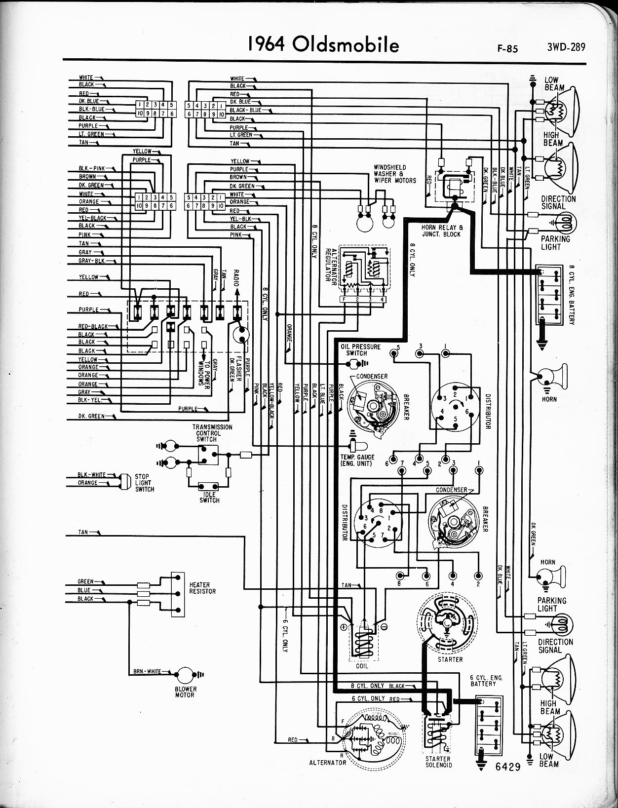 oldsmobile wiring diagrams the old car manual project 1964 f 85 right page