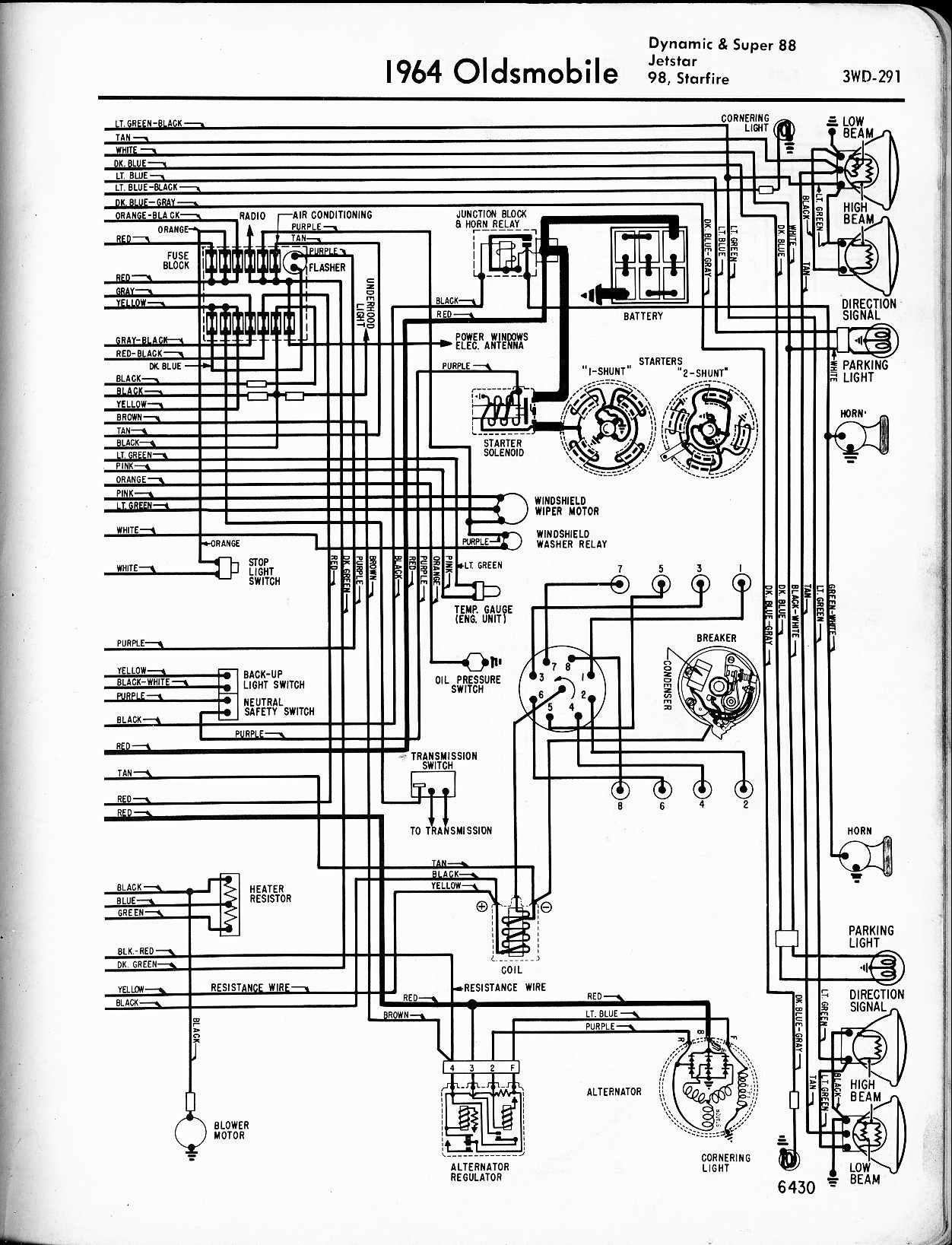 oldsmobile wiring diagrams the old car manual project 1964 dynamic 88 super 88 jetstar 98 starfire left page