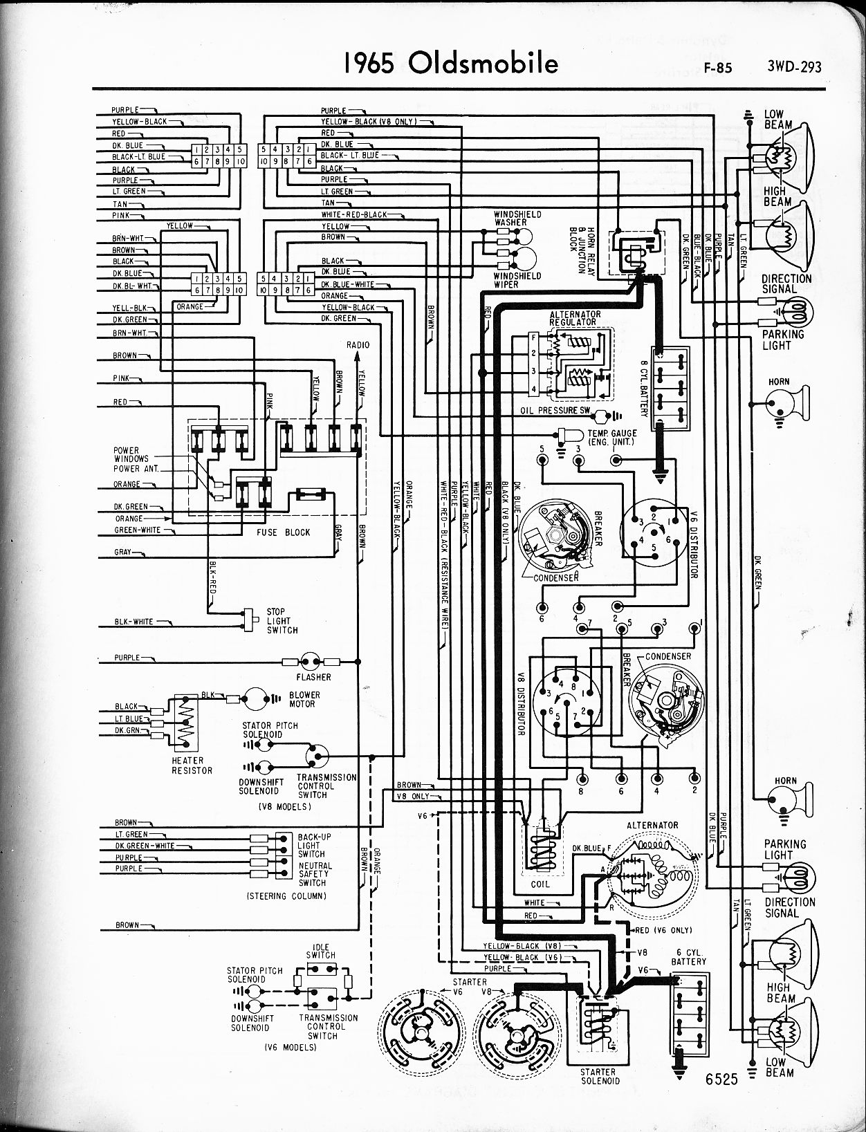 Oldsmobile vin location wiring diagram and fuse box diagram images - 1965 F 85 Right Page