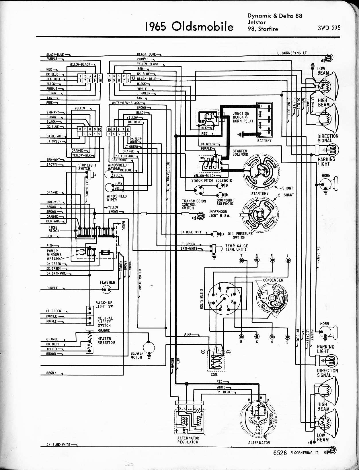 oldsmobile wiring diagrams the old car manual project 1965 dynamic 88 delta 88 jetstar 98 starfire right page