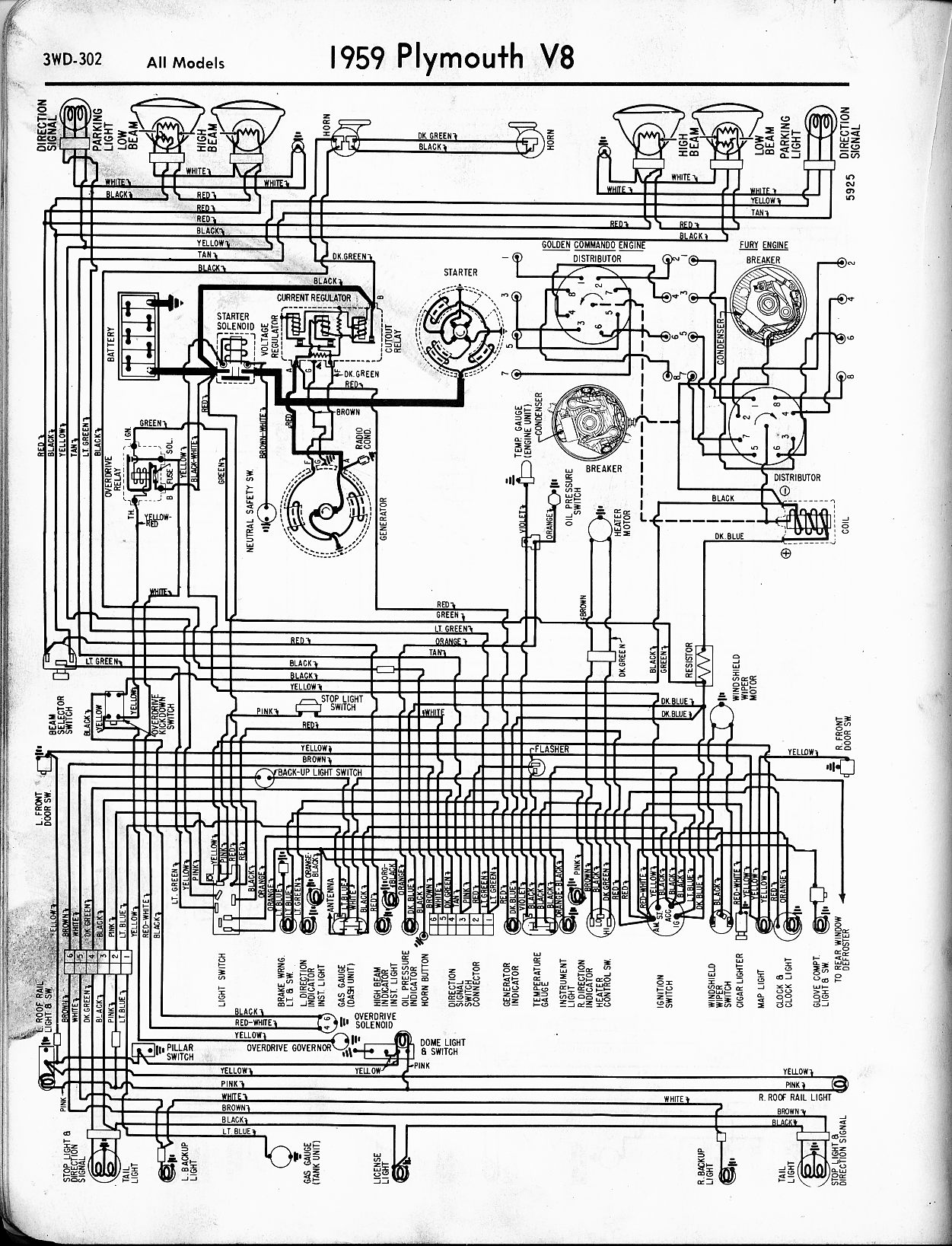 1956 1965 Plymouth Wiring The Old Car Manual Project Ford Dome Light Diagram