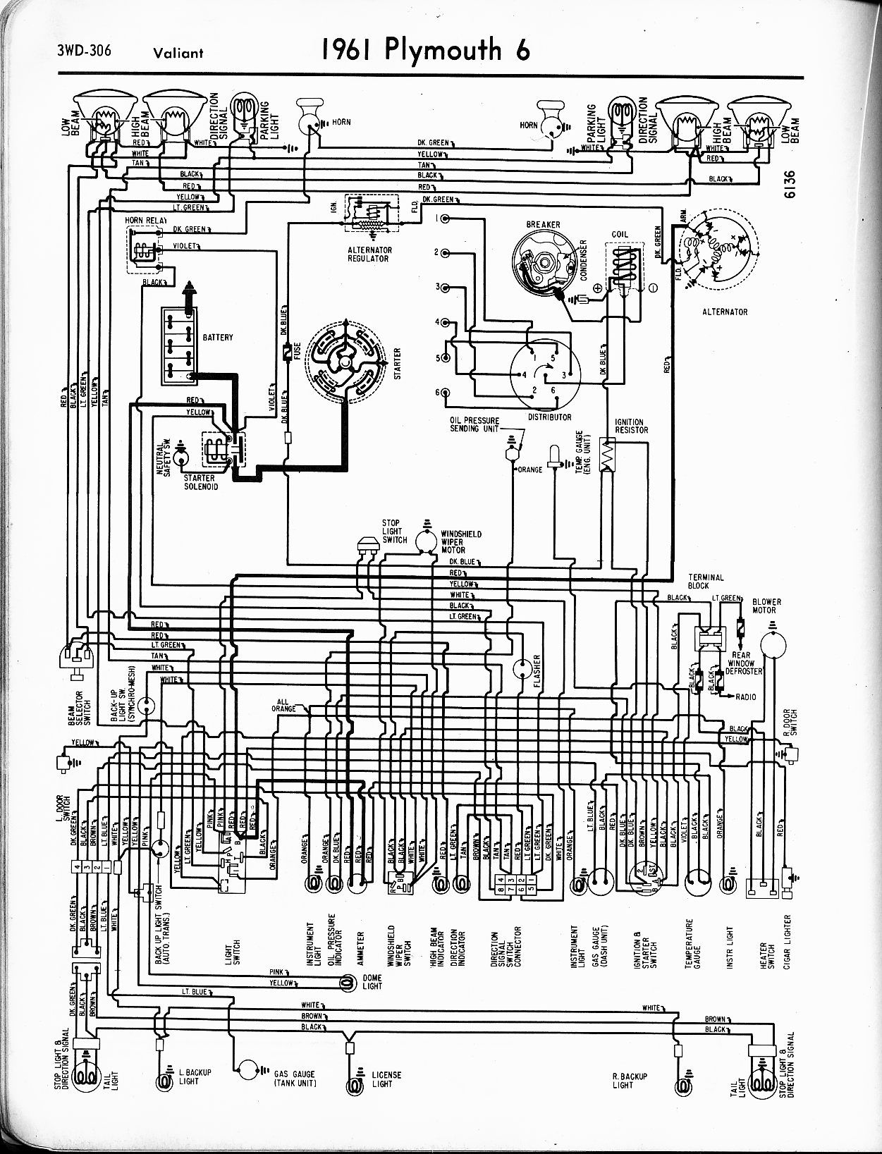 1961 Chrysler Wiring Diagram Sample Sprite Caravan 1956 1965 Plymouth The Old Car Manual Project 1960