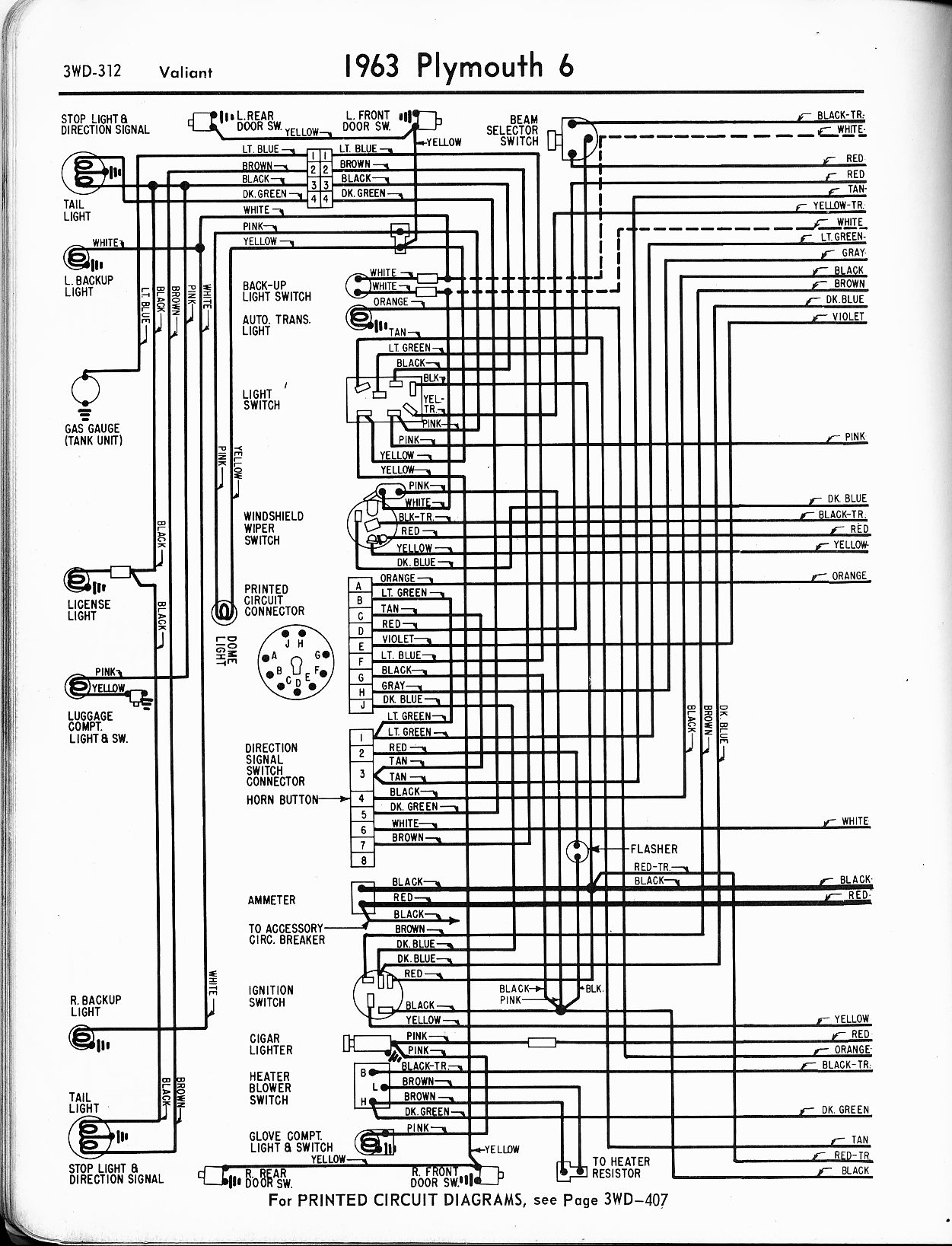 1956 1965 Plymouth Wiring The Old Car Manual Project Clic Instruments Diagrams 1963 6 Valiant Left Page