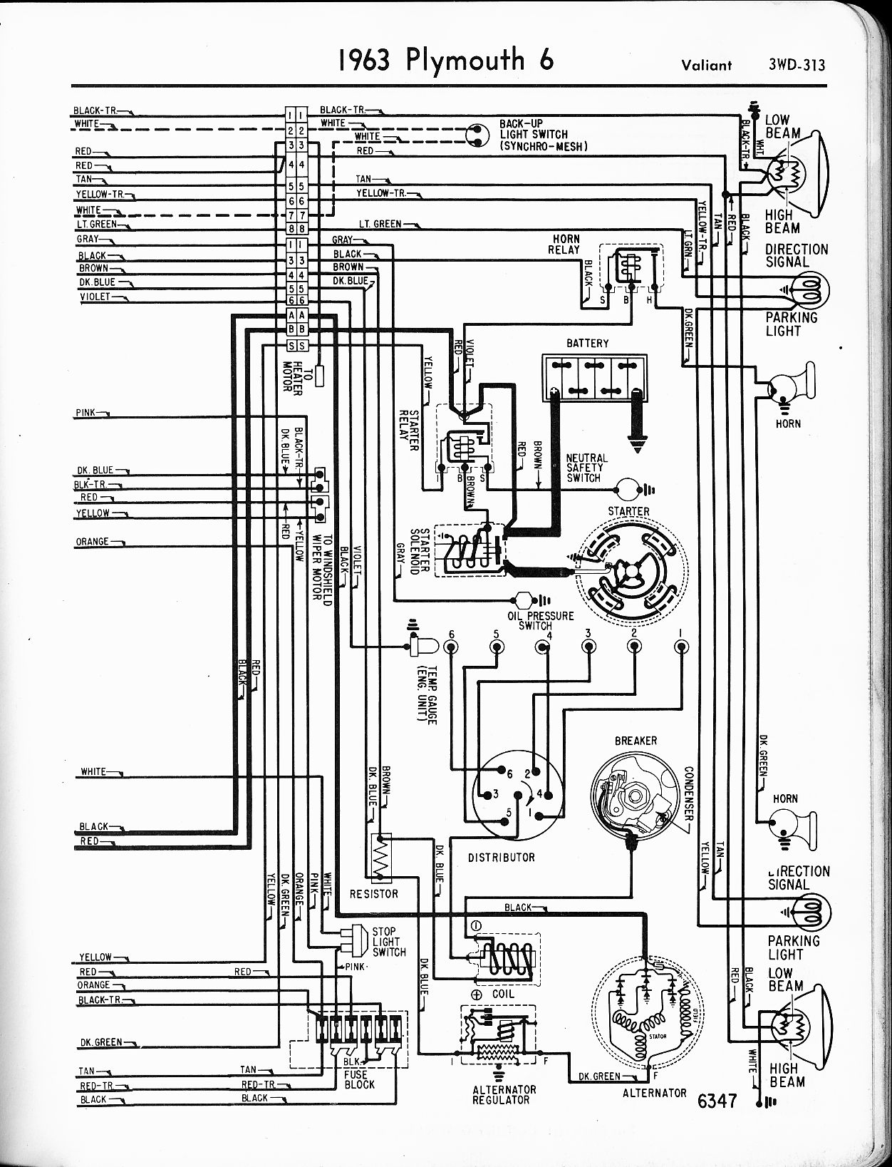 1956 - 1965 Plymouth Wiring - The Old Car Manual Project Headlight Switch Wiring Diagram For Olds on
