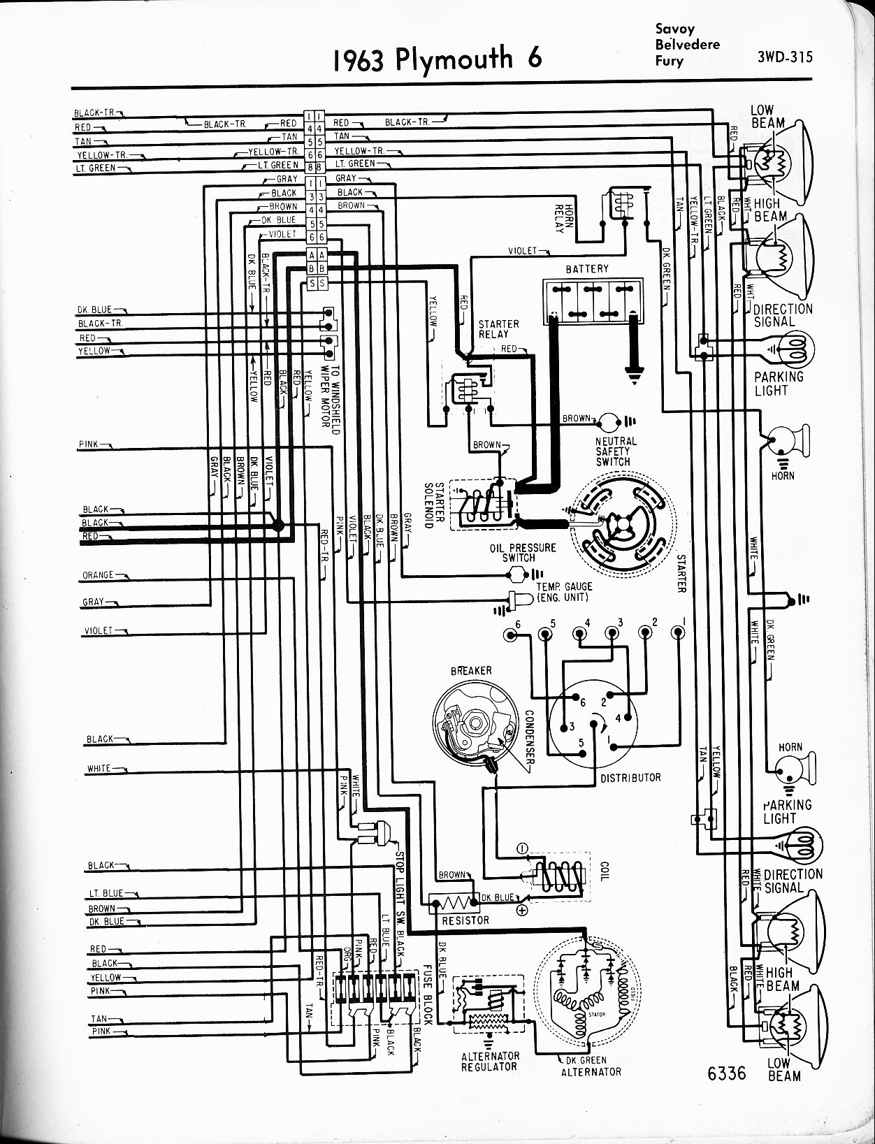 1956 - 1965 Plymouth Wiring - The Old Car Manual ProjectThe Old Car Manual Project