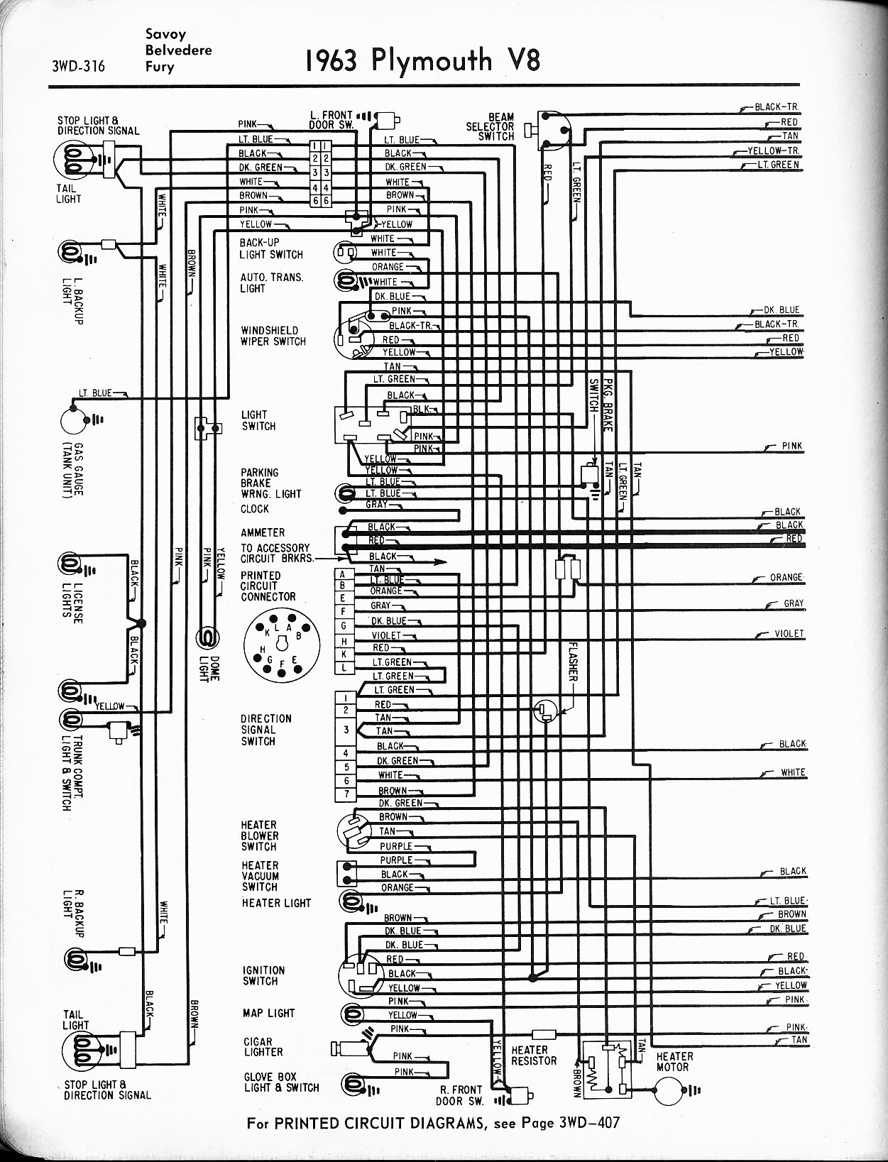 1956 1965 plymouth wiring the old car manual project rh oldcarmanualproject com Mopar Wiring Diagrams Positive Ground Plymouth Wiring-Diagram