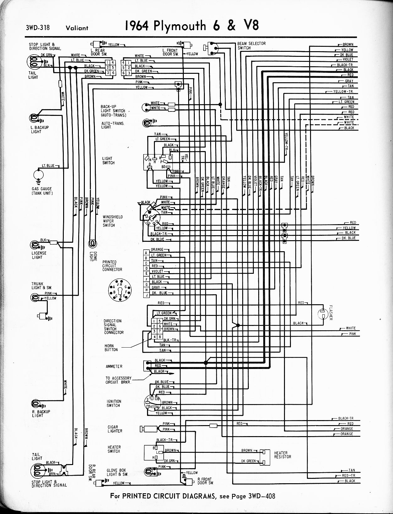 1956 1965 Plymouth Wiring The Old Car Manual Project 69 Fury Diagram 1964 6 V8 Valiant Left Page