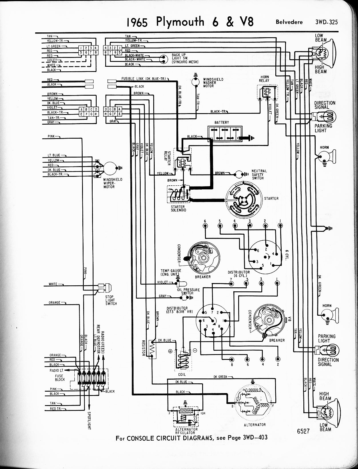 1956 1965 plymouth wiring the old car manual project Signal Stat 800 Wiring Diagram 1965 plymouth 6 v8 belvedere right page