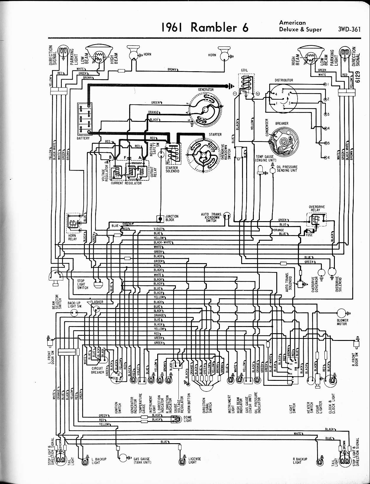 Rambler Wiring Diagrams The Old Car Manual Project Temp Gauge Diagram 1961 6 American Deluxe Super