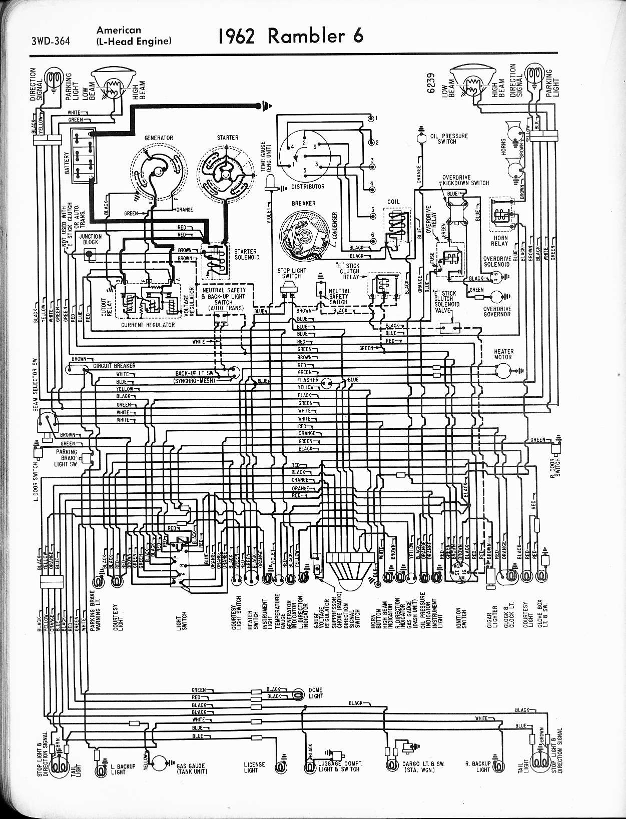 Rambler Wiring Diagrams The Old Car Manual Project 1946 Chevy 1 5 Ton Truck Diagram 1962 6 American L Head Engine