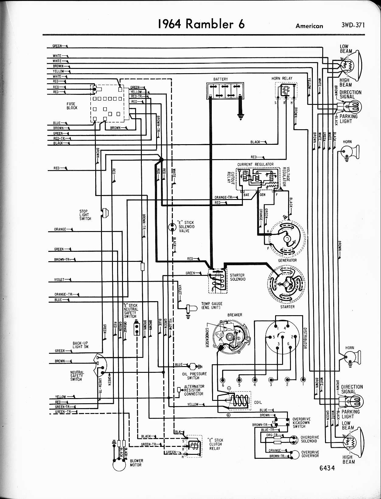 rambler wiring diagrams the old car manual project 1964 rambler 6 american right page