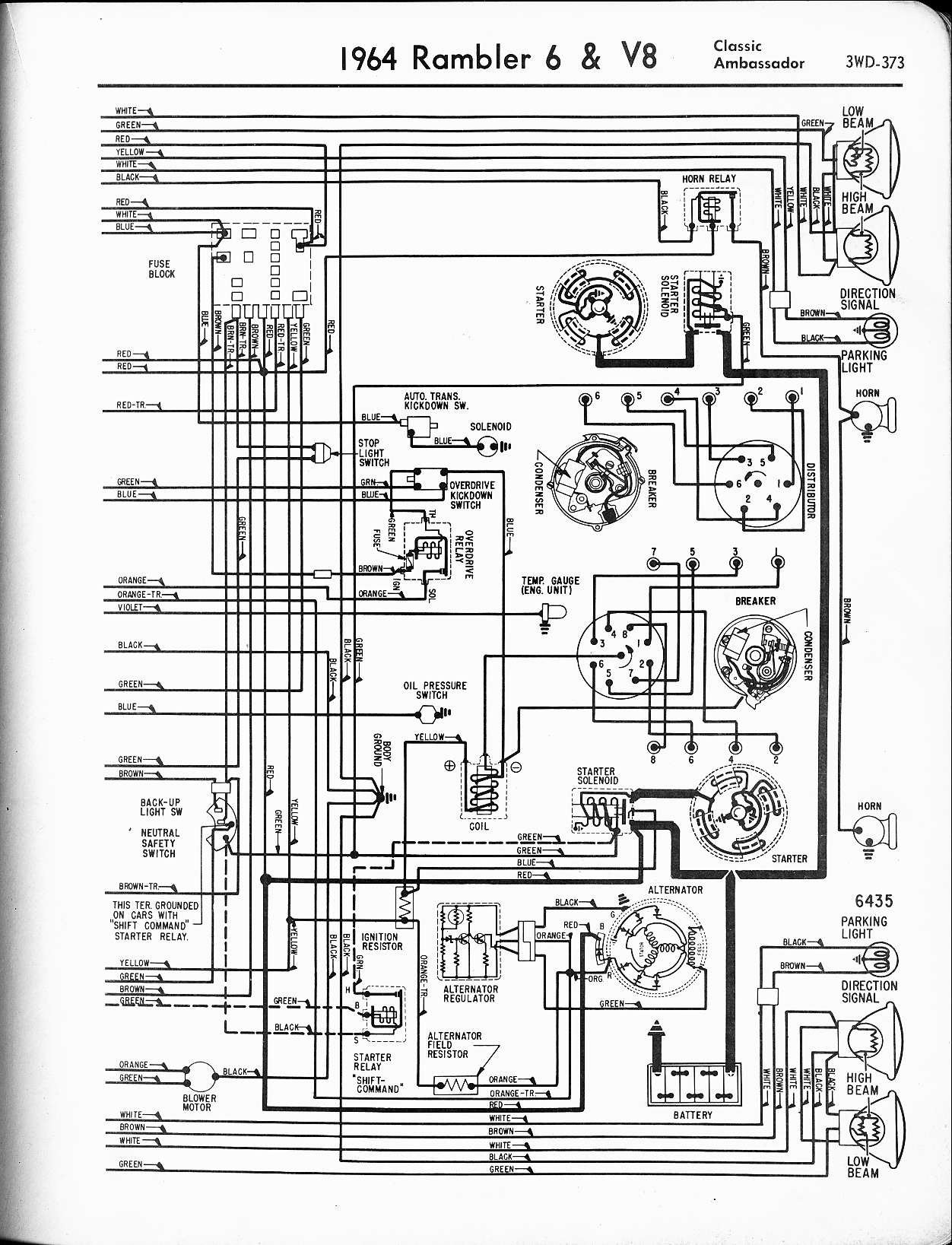 rambler wiring diagrams the old car manual project amc rambler 1964 rambler  6 & v8 classic