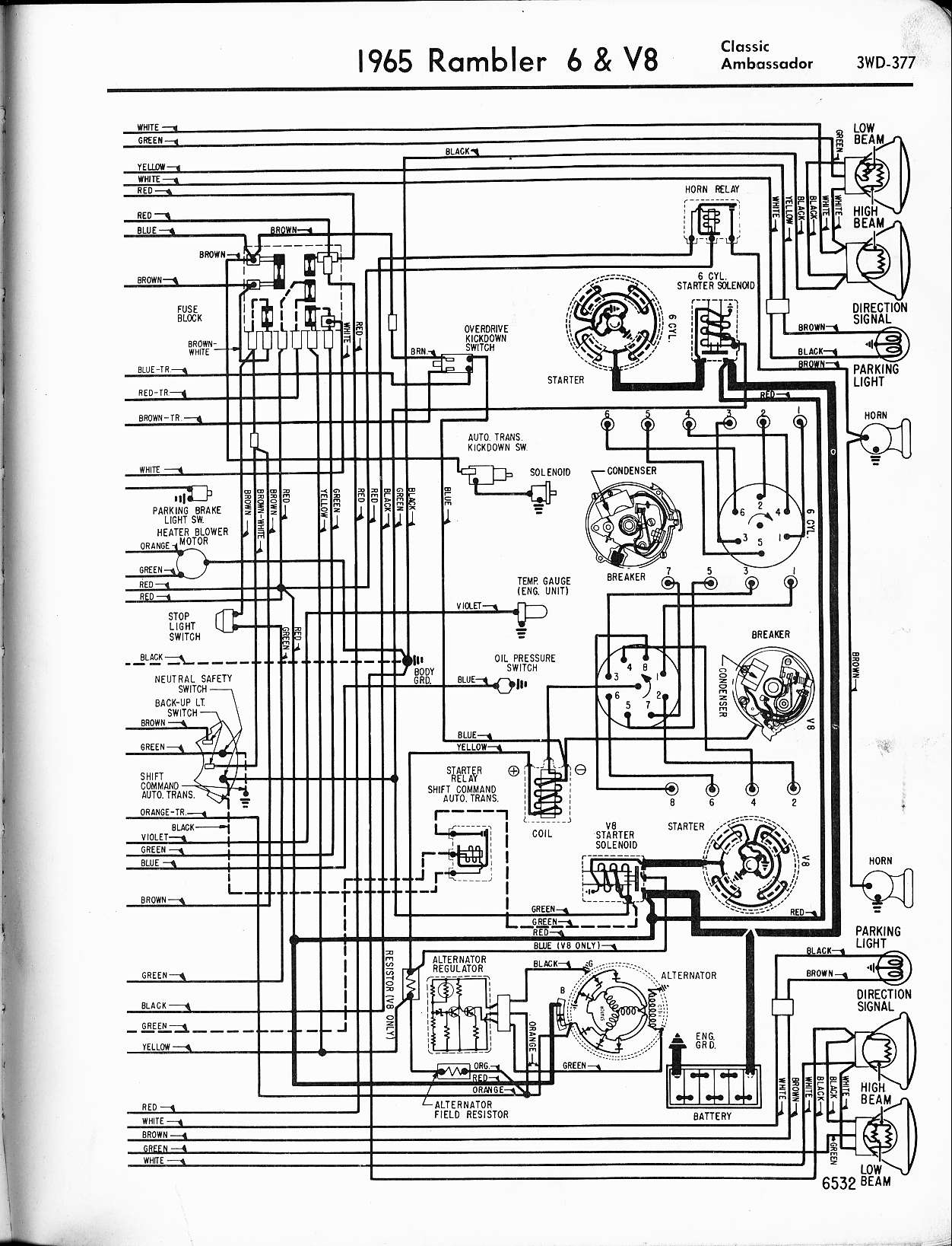 rambler wiring diagrams the old car manual project rh oldcarmanualproject  com 1964 Rambler Marlin 1964 Rambler Marlin