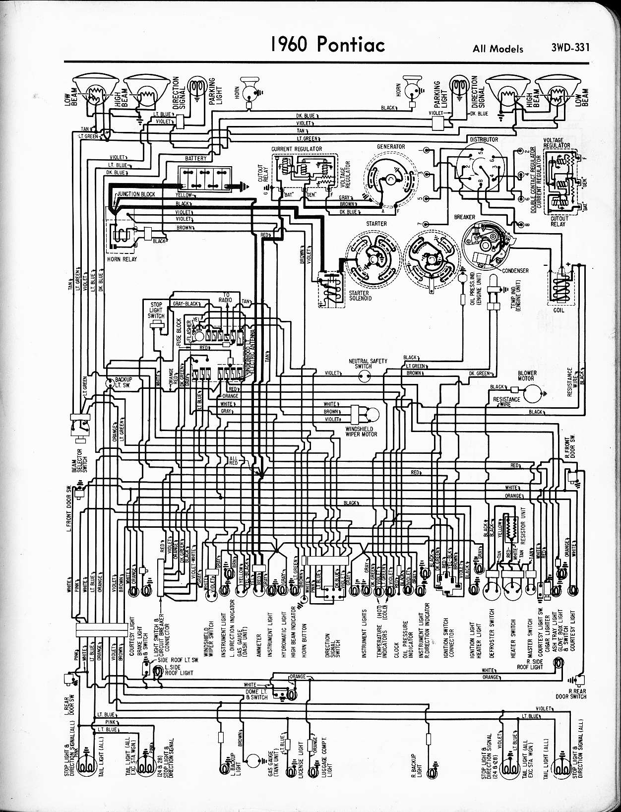 Pontiaccar Wiring Diagram Guide And Troubleshooting Of Switch Together With Fender Jazz Bass Pontiac 1957 1965 Rh Oldcarmanualproject Com 2018 Gto