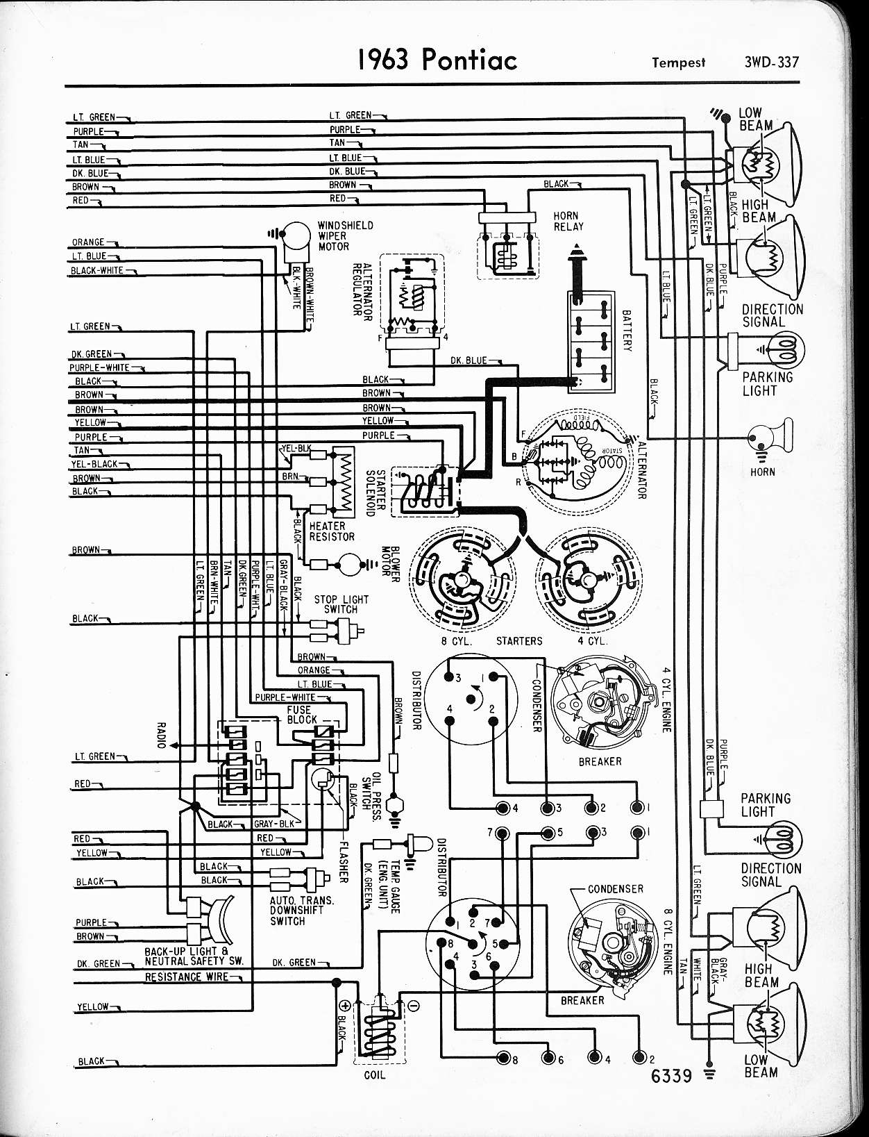 pontiac wiring 1957 1965 schematic wiring diagram 1963 tempest wiring,  right page