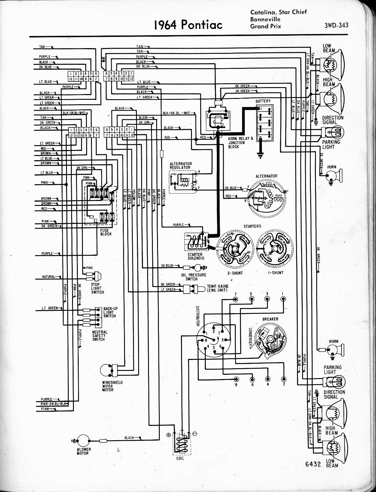 Pontiac Wiring 1957 1965 Diagram 2 Switches Harness 1964 Catalina Star Chief Bonneville Grand Prix Right Page